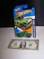 Hot Wheels Green Custom '69 Chevy Pickup Truck - Electric #68 City Works #140