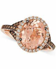 Le Vian Ring Peach Morganite Chocolate & Vanilla Diamonds 14K Rose Gold NEW