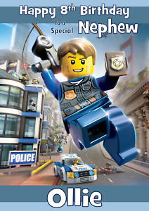 Lego City Undercover personalised A5 birthday card - any NAME AGE RELATION