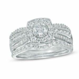 1.10 Ct Natural Diamond Halo Frame Multi-Row Bridal Set Ring 9K White Gold -IGI-