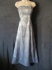 cc5b6330140 Jump Silver Gray Navy Blue Metallic Floral Brocade Strapless Formal Dress  7 8