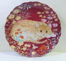 "Vintage Takahashi Cathy Tabby Cat Plate Red Design 1984 Japan Porcelain 7.5"" Dia"