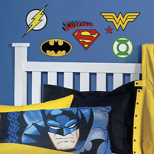 New DC COMICS SUPERHERO LOGOS WALL DECALS Batman Superman Flash Stickers Decor