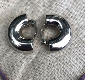 Chunky Macaroni 925 Sterling Silver Clip On Earrings 14Gr