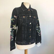 Topshop Moto Black Washed Floral Botanical Embroidered Denim Jacket Size 8 BNWT