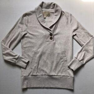 Eddie Bauer Sweater Sweatshirt Womens Sz SP Cream Shawl Collar Pullover Top