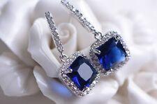 Boucles d`Oreilles Clous Argenté Bleu Carré CZ Zircon Vintage Argent 925 G1