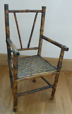 fauteuil de poupée ancien en bambou flammé