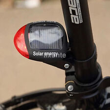 2 LED Red Bike Bicycle Solar Energy Rechargeable Tail Rear Light Flash Light US