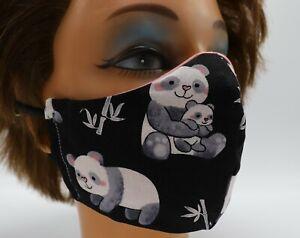 Panda Bear Print Washable Cloth Face Mask, Reusable Cotton Travel Face Cover