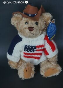 BRASS BUTTON BEARS CLAY PATRIOTIC JOINTED TEDDY BEAR PLUSH
