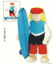 Goki 51628 - Biegepuppe Surfer für Puppenhaus Holz