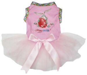 Happy Easter Rabbit Blue Top Pink White Dots Tutu Pet Dog Dress Puppy Clothes