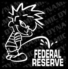 """Large 6"""" Calvin pee piss on Federal Reserve sticker funny JDM vinyl window decal"""