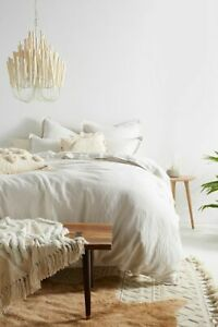 New Anthropologie Relaxed Cotton-Linen Light Gray Duvet Cover (Queen)