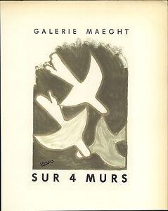1959 Mini Poster Lithograph ORIGINAL Print Georges Braque On 4 Walls Quatre Murs