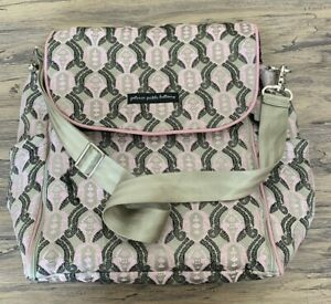 PETUNIA PICKLE BOTTOM Large Pink Multicolor Messenger Diaper Bag w/ Changing Pad
