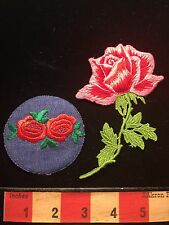 Pair Of RED ROSE FLOWER Patch Lot Of 2 - 1 Denim & 1 Appliqué 67LL