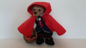 """Annette Funicello Collectible Bears Looks Like """"Red Riding Hood"""" 12"""" Tall EC"""