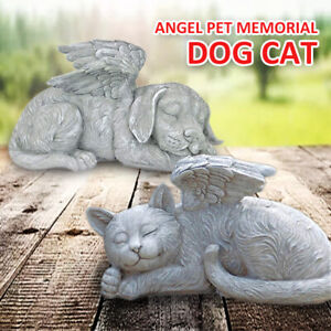 Resin Angel Pet Statue Sleeping Dog Cat in Wing Garden Ornaments Home Decor l