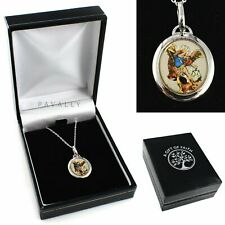 More details for st saint michael medal necklace pendant the archangel gift boxed silver 925 cz