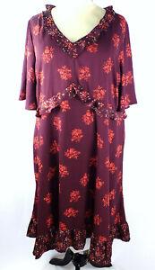 NEW Chelsea Studio Multi-Color Plus Size 3X Dress Flutter Sleeve Ruffle Trim