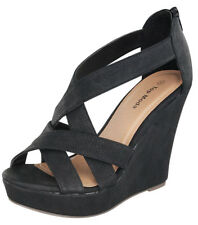 SIZE 5 BLACK HIGH HEEL WEDGE CAGED SANDAL WOMEN OPEN TOE PLATFORM PUMP
