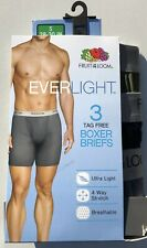 Mens Fruit Of The Loom Everlight Assorted Boxer Briefs - 3 Pack Small