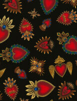 "Sacred Hearts Heart C6620 Black Timeless Durable Cotton Fabric 42"" Bolt END"