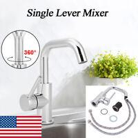 360° Rotatable Bathroom Basin Kitchen Single Lever Faucet Handles Sink Mixer Tap