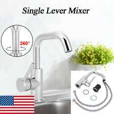 360° Rotatable Bathroom Basin Kitchen Single Lever Faucet Handles Sink Mixer Tap