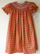 BNWT Lolly Wolly Doodle Red/Green Smocked Bishop Dress Girl's Size 5