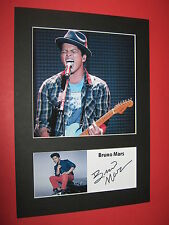 BRUNO MARS A4 PHOTO MOUNT SIGNED PRE-PRINTED TICKET CD UPTOWN FUNK MARK RONSON