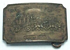 Vintage Solid Brass Tiffany Western Belt Buckle Wells Fargo and Company 1852