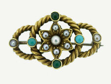 Broche 585er 14 carats jaune-or perles turquoise antique victorienne victorian