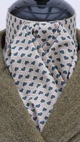 Ready Tied Coffee & Green Hearts Cotton Riding Stock - Show Tie Hunting Eventing