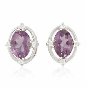 Gift For Mom Natural Amethyst Topaz 925 Sterling Silver Stud Earrings Jewelry