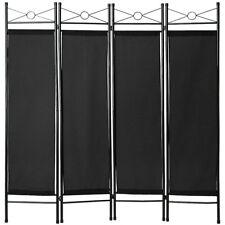 4tlg Raumteiler Trennwand Paravent Umkleide Sichtschutz Spanische Wand Schwarz