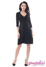 Purpless Maternity Women's 3/4 Sleeve Pregnancy V-Neck Formal Dress Top D4400