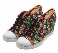 SO Ladies Womens Black Floral Wedge Sneakers Shoes Size 9.5M