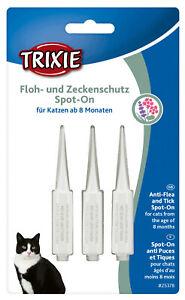 TRIXIE Spot On Floh- und Zeckenschutz für Katzen gegen Zecken Flöhe 3 x 1ml