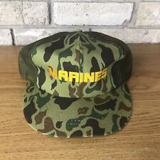 Vintage 80s 90s Marines Military Camp Trucker Mesh Snapback Hat Cap Yellow Green