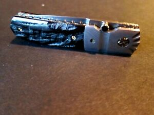 New Mel Pardue Custom Knife Damascus & Buffalo Horn Tanto Linerlock Folder