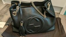 Authentic Black Leather Gucci Chain Soho Hobo Bag