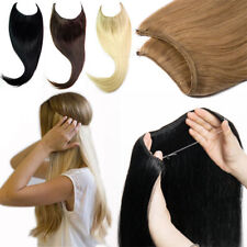120G THICK LONG HUMAN REMY HALO SECRET INVISIBLE WIRE HAIR EXTENSIONS ANY COLOUR