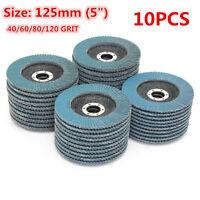 10X 125mm 5'' Flap Discs Wheels Grinding Sanding 40/60/80/120 Grit Angle Grinder