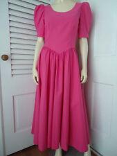 LAURA ASHLEY Dress 10 Hot Pink Cotton Drop Waist Long Prairie Victorian Bow Back