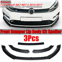 for VW Golf MK7 MK7.5 2014-2017 Matte Black Front Bumper Lip Body Kit Spoiler