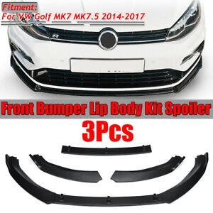 Pour VW Golf MK7.5 2014-2017 Noir Mat Pare-Choc Corps Kit Spoiler