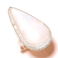 Pear Rainbow Moonstone Gemstone Silver Overlay Handmade White Stone Ring-7.75